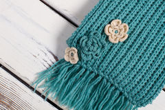 Detail of handmade knitted scarf. Stock Photography