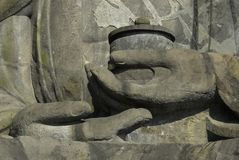 Detail of hands of Great Buddha Stock Photos