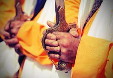 Detail of the hands of the Sikh religious men with vintage effec. Detail of the hands of the Sikh religious men during the festival with vintage effect Stock Images