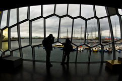 Detail of Harpa concert hall architecture in Reykjavik Stock Images