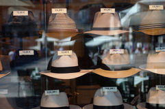 Detail of a hat shop Royalty Free Stock Photo
