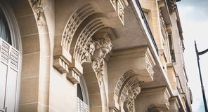 Detail of the Haussmann architecture of the historic center of Paris. Paris, France - October 7, 2017: detail of the Haussmann architecture of the historic royalty free stock image