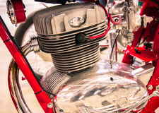 Detail of the head of the engine of a vintage motorcycles. Royalty Free Stock Photography