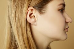 Detail of the head with female human ear and hair close up. Detail of the head with female human ear stock image