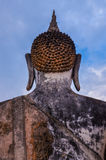 Detail of head of stone statue of sitting Buddha in Sukhothai hi Royalty Free Stock Photography