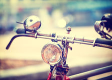 Detail of  headlight old bicycle with blurred background, Royalty Free Stock Image