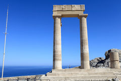 Detail of Hellenistic stoa. At Lindos Acropolis, Rhodes, Greece Stock Photo