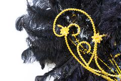 Detail of the helmet with feathers and embroidery for the carnival. Black feathers and golden embroidery of the backs for the carnival stock images