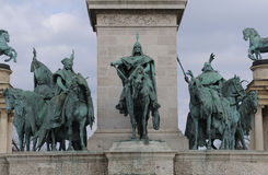 Detail of Heroes' Square. In Budapest, Hungary.This wide and extravagant parade ground was laid out by architect Albert Schieckedanz for the Hungarian royalty free stock image
