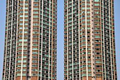The detail of the high density residential building in Hong Kong. Skycrapers in daily life royalty free stock photography