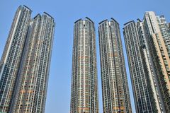 The detail of the high density residential building in Hong Kong. Skyscrapers in everyday life royalty free stock images