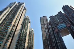 The detail of the high density residential building in Hong Kong. Skyscrapers in everyday life stock image