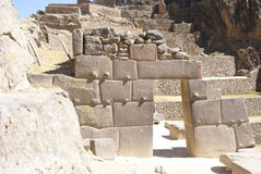 Detail, high quality of Inca stone Royalty Free Stock Photo