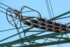 Detail of high-voltage ceramic insulator. High Voltage Lead.  Electricity distribution. Royalty Free Stock Image