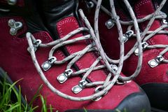 Detail of hiking boots Royalty Free Stock Image