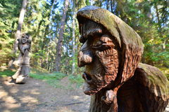 Detail. Hill of Witches. Juodkranté. Lithuania. The Hill of Witches is an outdoor sculpture gallery near Juodkrantė, located on a forested sand dune stock photography