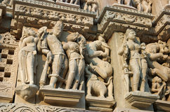 Detail of hindu temple in Khajuraho,India. Khajuraho has the largest group of medieval Hindu and Jain temples, famous for their erotic sculpture stock images