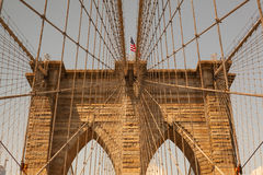 Detail of historic Brooklyn Bridge in New York Royalty Free Stock Images