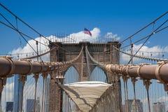 Detail of historic Brooklyn Bridge in New York Stock Image