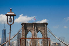 Detail of historic Brooklyn Bridge in New York Royalty Free Stock Photography