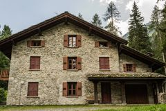Detail of historic house in Aosta valley stock photos