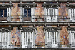 Detail of Historic tenement house facade Casa de la Panaderia in Madrid Royalty Free Stock Photography