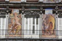 Detail of Historic tenement house facade Casa de la Panaderia in Madrid royalty free stock photo