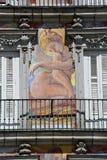 Detail of Historic tenement house facade Casa de la Panaderia in Madrid Royalty Free Stock Photos