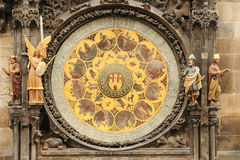 Detail of the historical medieval astronomical Clock in Prague on Old Town Hall , Czech Republic Stock Image