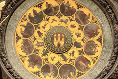 Detail of the historical medieval astronomical Clock in Prague on Old Town Hall , Czech Republic Stock Photos