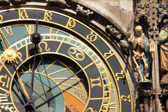 Detail of the historical medieval astronomical Clock in Prague on Old Town Hall , Czech Republic Royalty Free Stock Photography