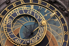 Detail of the historical medieval astronomical Clock in Prague on Old Town Hall Stock Photography