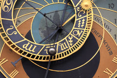 Detail of the historical medieval astronomical Clock in Prague on Old Town Hall Stock Photo