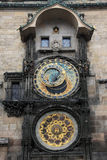 Detail of the historical medieval astronomical Clock in Prague on Old Town Hall Stock Image