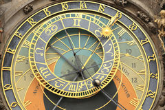 Detail of the historical medieval astronomical Clock in Prague on Old Town Hall Stock Photos