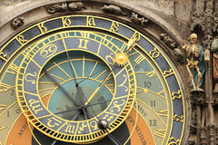 Detail of the historical medieval astronomical Clock in Prague on Old Town Hall Royalty Free Stock Photography
