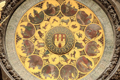 Detail of the historical medieval astronomical Clock in Prague on Old Town Hall Royalty Free Stock Photos