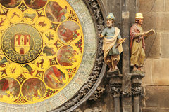 Detail of the historical medieval astronomical Clock in Prague on Old Town Hall Stock Images