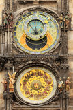 Detail of the historical medieval astronomical Clock in Prague on Old Town Hall , Czech Republic Stock Photography