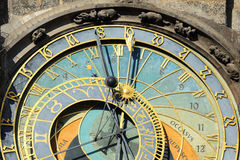 Detail of the historical medieval astronomical Clock in Prague on Old Town Hall , Czech Republic Royalty Free Stock Photo