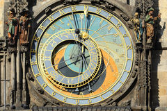 Detail of the historical medieval astronomical Clock in Prague on Old Town Hall , Czech Republic Royalty Free Stock Photos