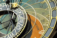 Detail of the historical medieval astronomical Clock in Prague on Old Town Hall , Czech Republic Stock Images