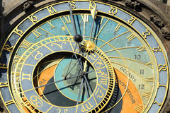 Detail of the historical medieval astronomical Clock in Prague on Old Town Hall , Czech Republic Stock Photo