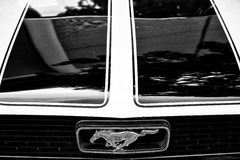 Detail of the hood and the emblem of a sports car Ford Mustang Royalty Free Stock Photography