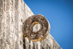 Detail of hoop at ball game court juego de pelota at Chichen Itza, Mexico Royalty Free Stock Photo