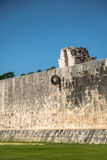 Detail of hoop at ball game court juego de pelota at Chichen Itza, Mexico Royalty Free Stock Image