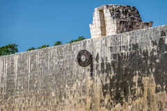 Detail of hoop at ball game court juego de pelota at Chichen Itza, Mexico. Detail of hoop at ball game court juego de pelota at Chichen Itza in Mexico Royalty Free Stock Photos