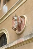 Detail of horse head sculpture on carriage house of Villa of San Martino on the island of Elba in the Tuscan Archipelago of Italy, Stock Images