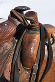 Detail of Horse Saddles. Closeup of two western horse saddles grouped together. Vertical shot royalty free stock photo