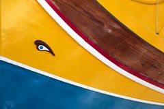 Detail of horus eye of Malta boats. Luzzu, typical Malta boat decorated with the eye of Horus Royalty Free Stock Photos